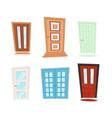 set different doors in cartoon style doors vector image