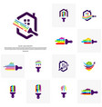 set of house paint logo design concept colorful vector image