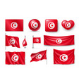 set tunisia flags banners banners symbols flat vector image
