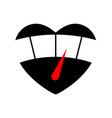 speedometer with red arrow in heart icon black vector image vector image