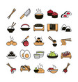 sushi oriental menu icons set line and fill style vector image vector image
