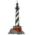 the black and white lighthouse vector image vector image