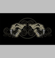 two lion skulls on a background vintage vector image
