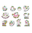 unicorn labels collection retro fashioned vector image vector image