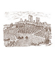 vintage rural landscape with houses solar tuscany vector image vector image