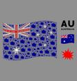 waving australia flag composition bang items vector image vector image