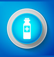 white bottle with medical pills icon tablets sign vector image vector image