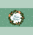 banner with a christmas wreath and gingerbread vector image vector image