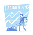 bitcoin mining lineart concept vector image