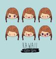 Blue background set facial expression kawaii