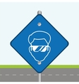 blue road sign head worker construction vector image