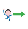 businessman character running and carrying arrow vector image