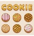 Cartoon cookie biskvit food letters vector image vector image