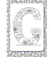 cartoon g letter drawn in the shape of house vector image vector image