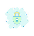cartoon lock icon in comic style padlock locker vector image