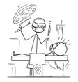 cartoon mad surgeon on operating theater ready vector image vector image