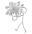 cartoon man carrying or holding vase flowers vector image vector image