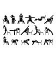 chair yoga exercises stick figure pictograph icons vector image vector image