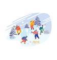 christmas holidays activity snowballs battle vector image vector image
