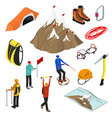 color mountaineering signs 3d icon set isometric vector image