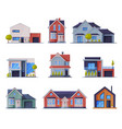 cottages facades collection city or country vector image