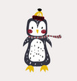 cute bunny pinguin in winter hat childish print vector image vector image
