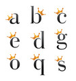 font with crown vector image vector image