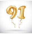 golden number 91 ninety one metallic balloon vector image vector image