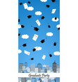 graduation hats high up in the air above the city vector image vector image