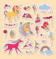 hand drawn holiday stickers with rainbow unicorn vector image vector image