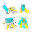 hands on laptop and phone set keyboard and vector image vector image