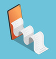 isometric financial bill come out from smartphone vector image vector image