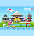 japan landmark travel object paper cut origami vector image