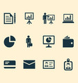 job icons set collection of diagram pie bar vector image vector image