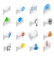 Mail icons set isometric 3d style vector image vector image