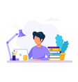 man with laptop education or working concept vector image vector image