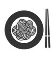 noodle icon thin long strip pasta in plate vector image vector image