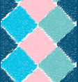pencil hatched blue pink and green squares vector image vector image