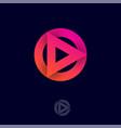 play logo symbol triangle circle multimedia player vector image vector image