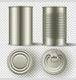 realistic 3d tin can mock up set top and side vector image vector image