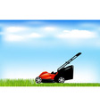 red lawn mower vector image vector image