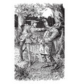 robin hood killing the guy of gisbourne vintage vector image vector image