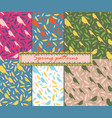 set of 6 patterns patterns with birds and feather vector image vector image