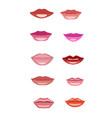set of lips of different shape vector image vector image