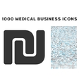 Shekel Icon with 1000 Medical Business Symbols vector image vector image