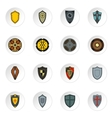 shield icons set flat style vector image vector image