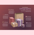 shopping infographic concept giftsshopping bag vector image vector image