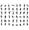silhouettes children playing vector image