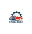 tires shop logo design template silhouette tire vector image vector image