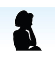 Woman silhouette with hand gesture thinking vector image
